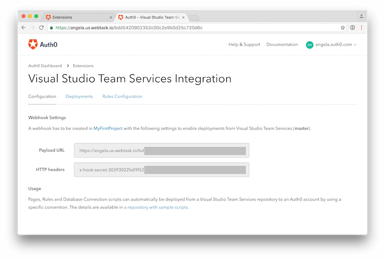 Visual Studio Team Services Integration Page