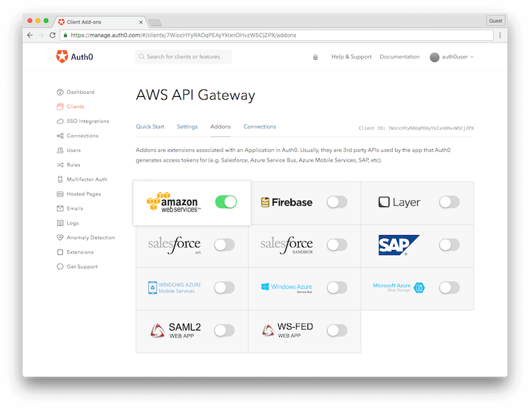 Enable AWS for Client