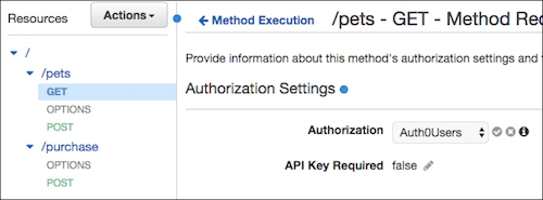 selecting authorizer for a given API method