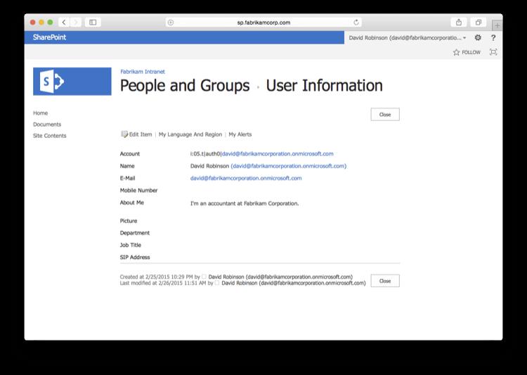 SharePoint User Info