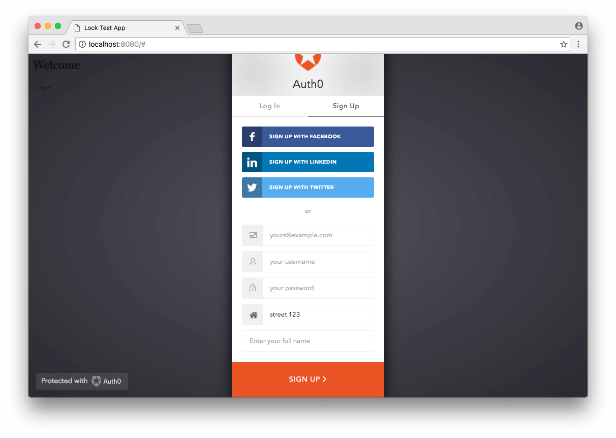Lock - Additional Signup Fields