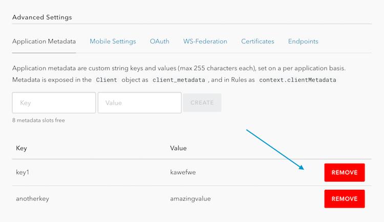 Remove client metadata