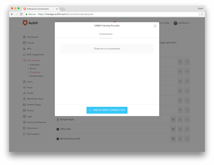 Create New Auth0 Connection