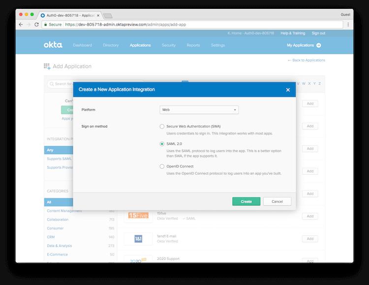 Create New app Integration