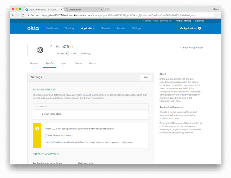 Okta App Sign On