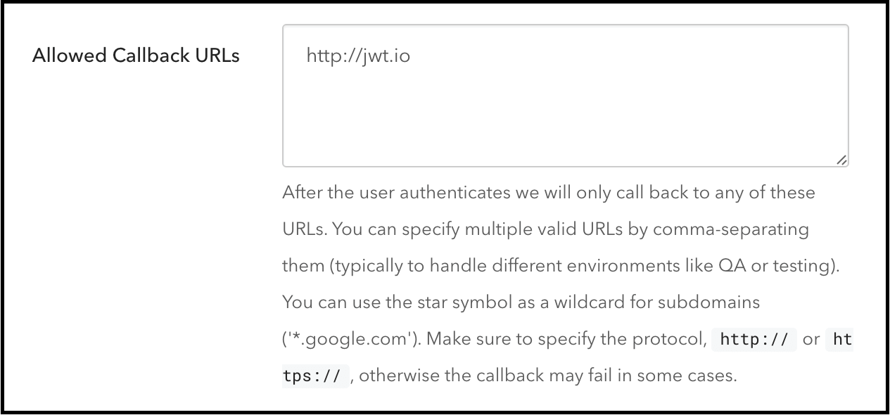 Allowed Callback URLS field
