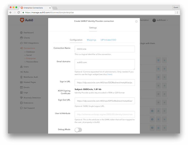 Auth0 Configure SSOCircle Connection Screen