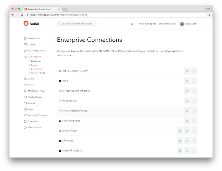 Auth0 Create Enterprise Connection Screen