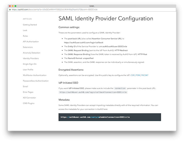 SAML Configuration Info Display