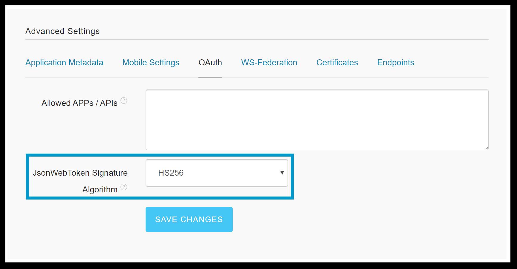 Configure JWT Signature Algorithm as HS256