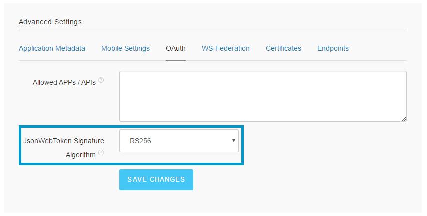 Configure JWT Signature Algorithm as RS256
