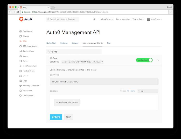 Management Dashboard API Authorization