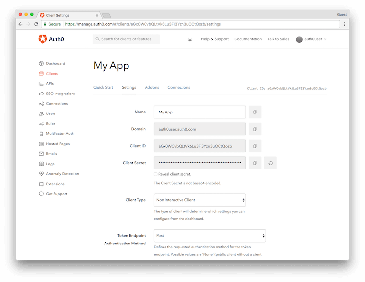Management Dashboard Client Setting Page