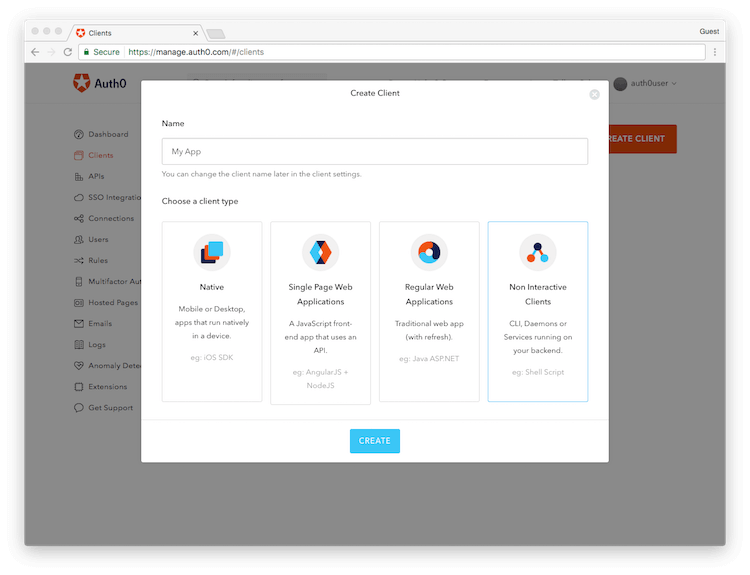 Management Dashboard Clients Type Selection