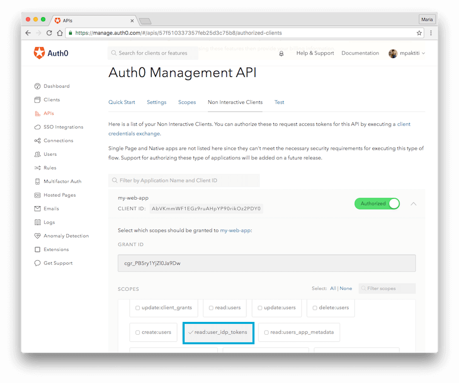 Auth0 Management API Scopes