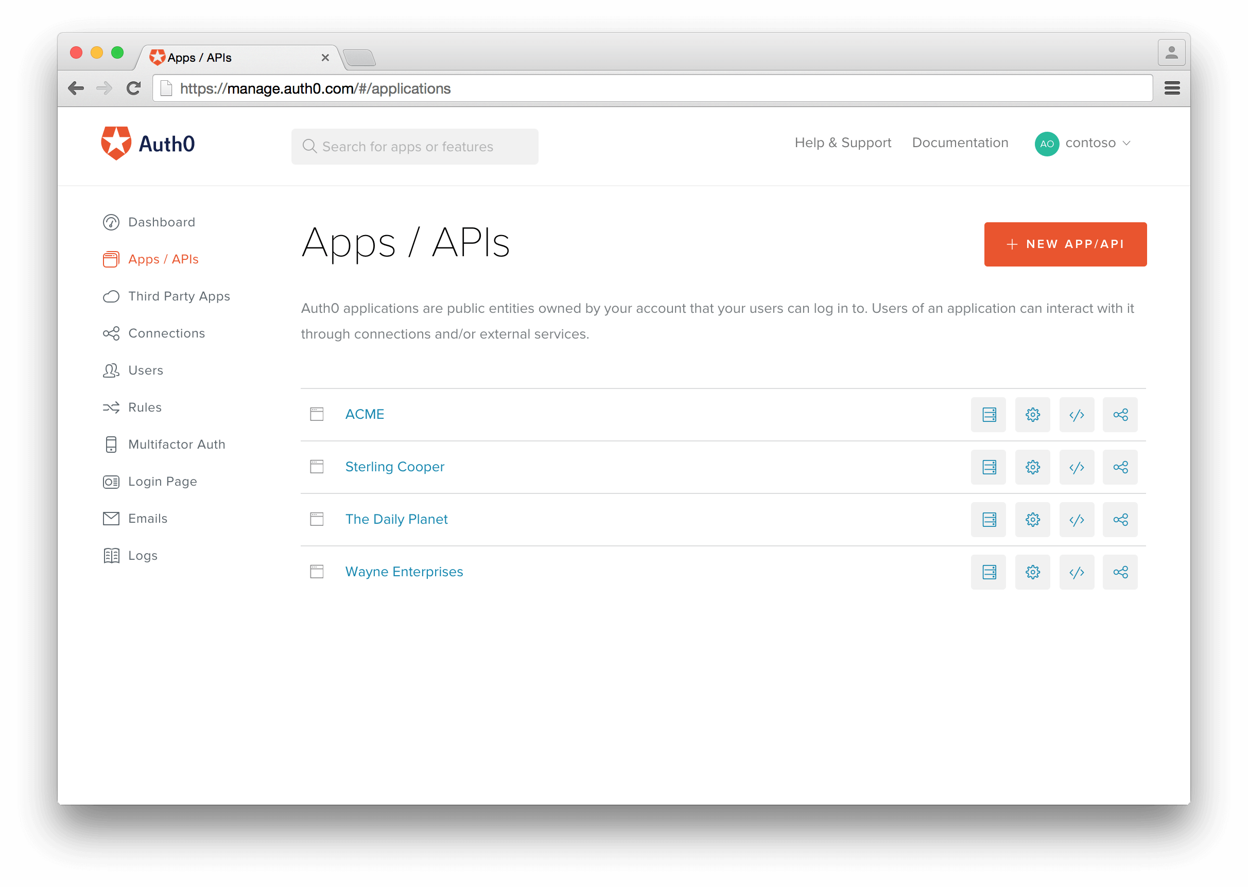 Create an Application in Auth0 dashboard
