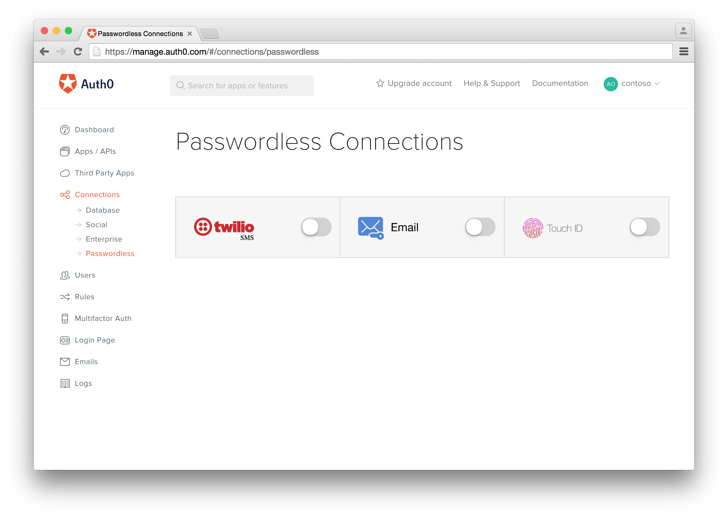 Create a Passwordless Connection for authentication