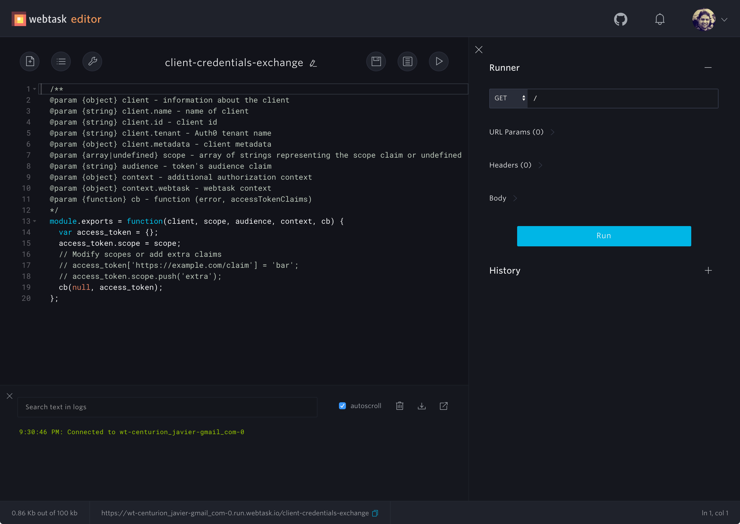 Auth0 Hooks in Webtask Editor