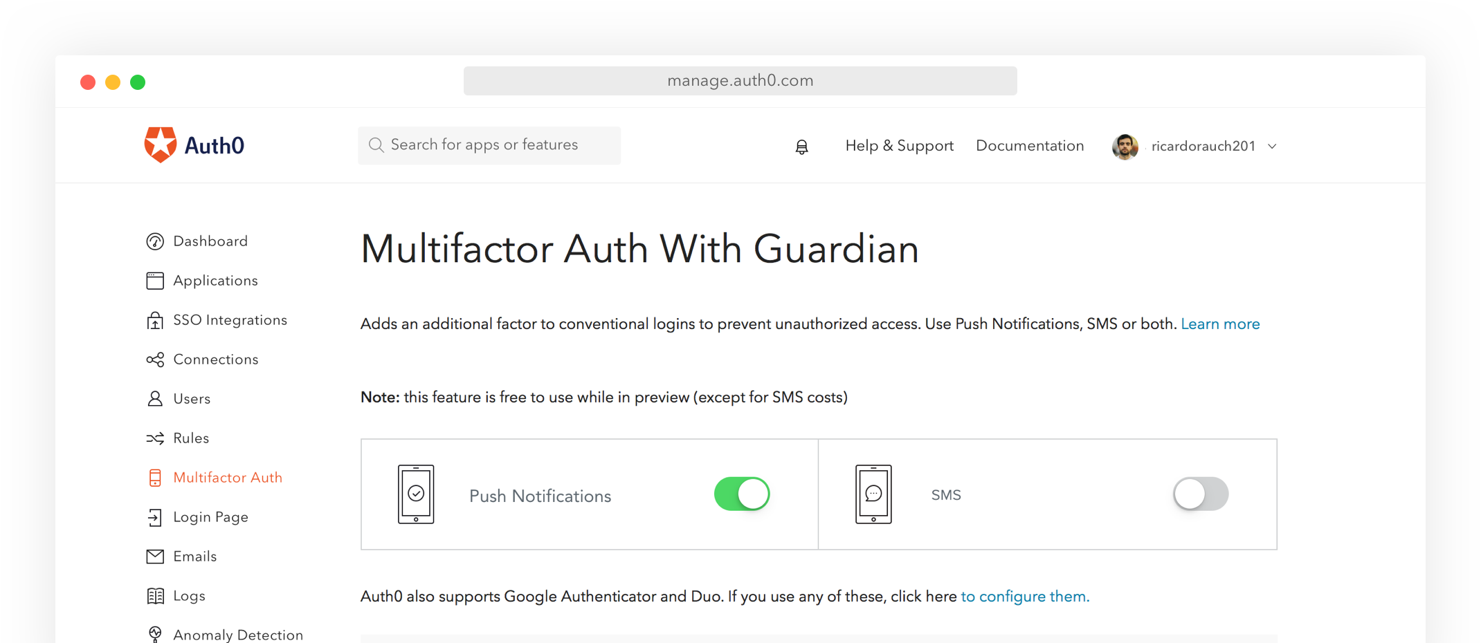 Auth0's Manage page with MFA panel