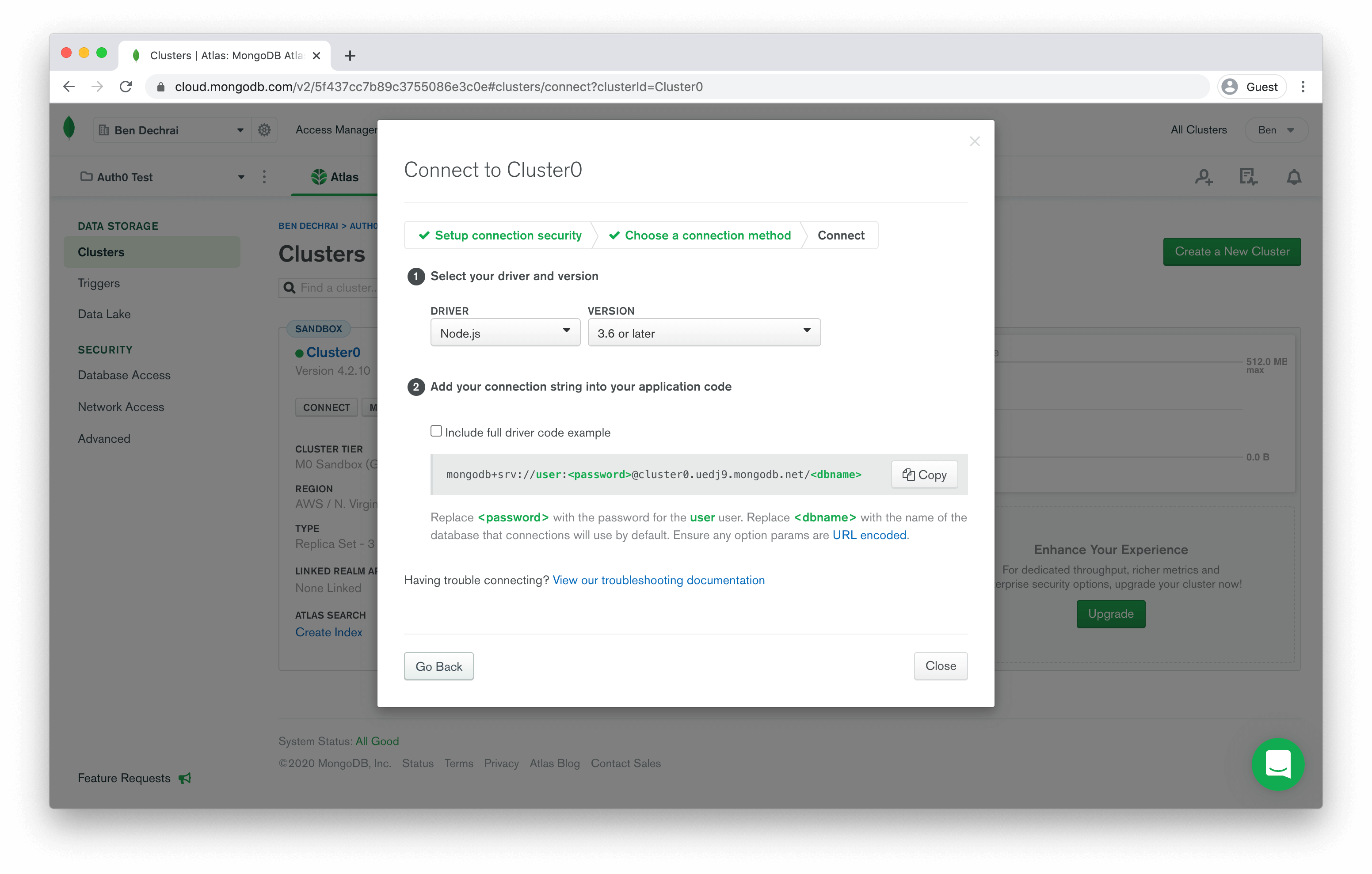 Obtaining connection details from MongoDB