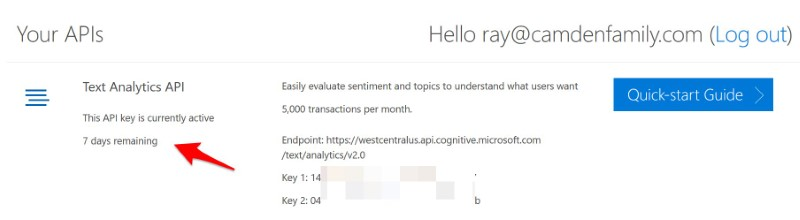 Keys from Microsoft for the API