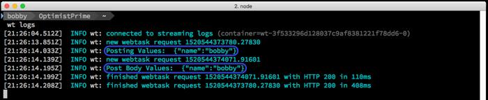 Terminal Logs Multiple Webtasks
