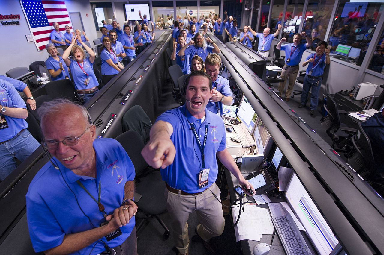 NASA engineers celebrating curiosity